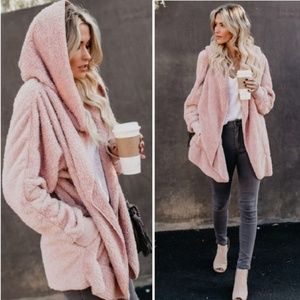 🆕️MAUVE PLUSH TEDDY SHERPA HOODED JACKET